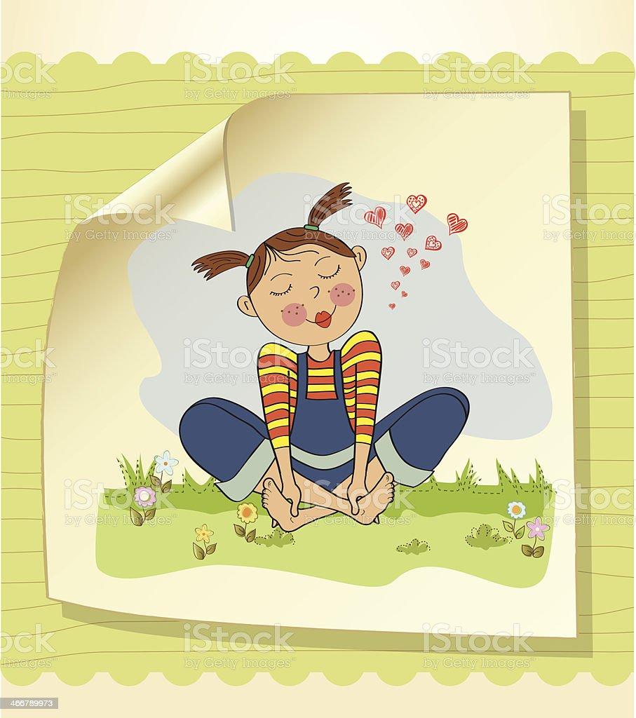 romantic girl sitting barefoot in the grass vector art illustration