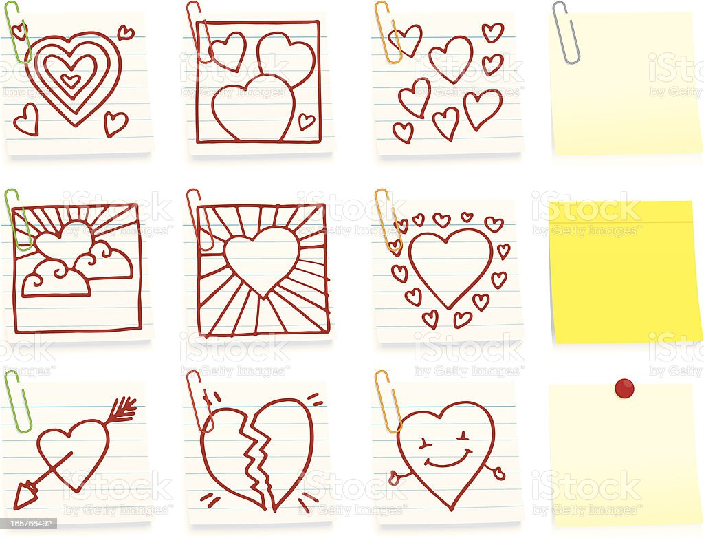Romantic heart shape doodle icon post it note royalty-free stock vector art