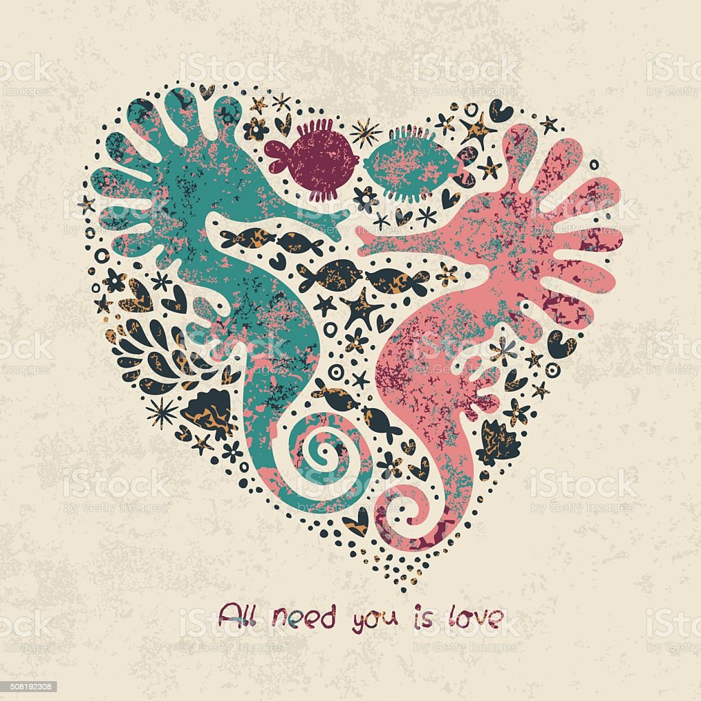 Romantic heart with seahorses and fish. vector art illustration