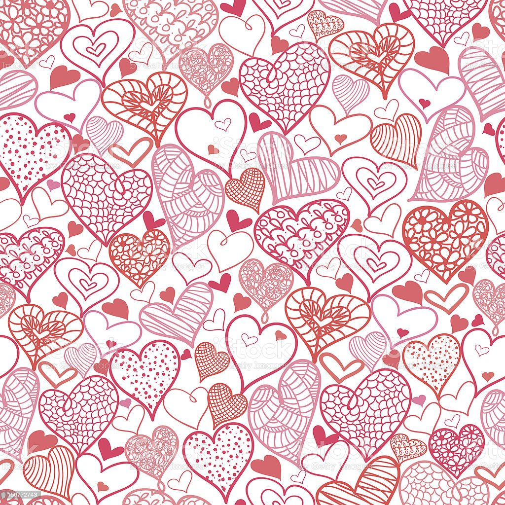 Romantic Hearts Seamless Pattern Background royalty-free stock vector art