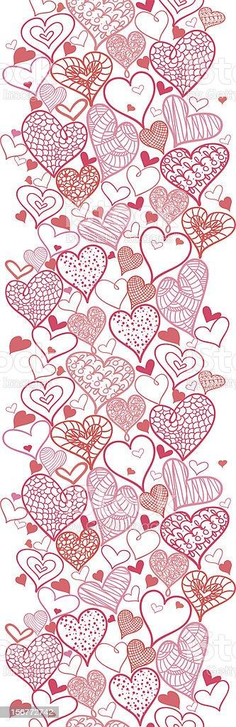 Romantic Hearts Vertical Seamless Pattern Ornament royalty-free stock vector art