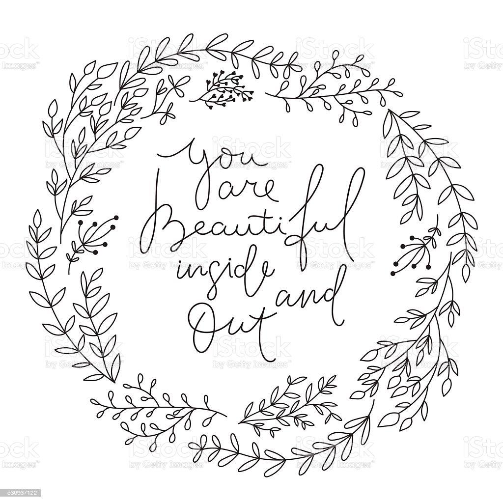Romantic Inspirational quote . vector art illustration