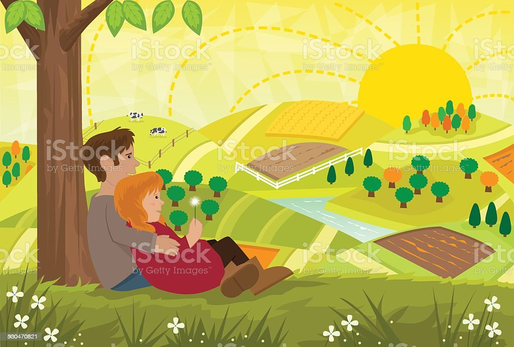 Romantic Landscape vector art illustration