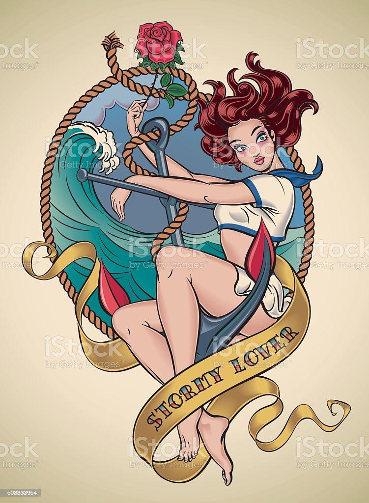 Romantic old-school tattoo - Stormy Lover vector art illustration