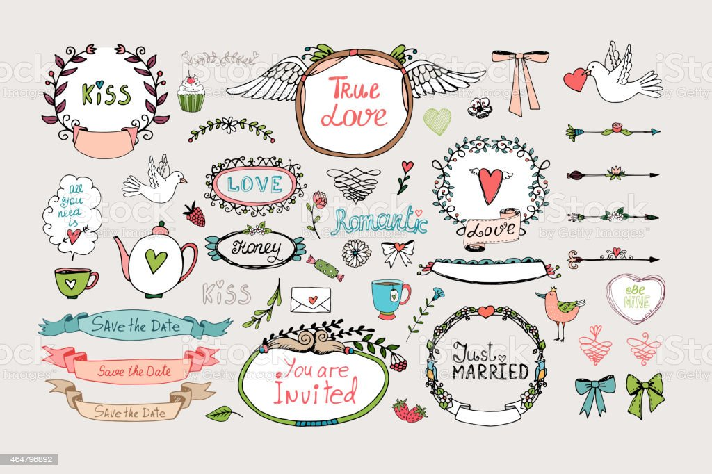 Romantic ornate frames, banners and ribbons vector art illustration