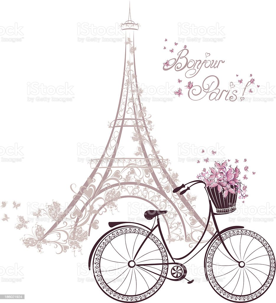 Romantic postcard from Paris. Eiffel tower and bicycle vector art illustration