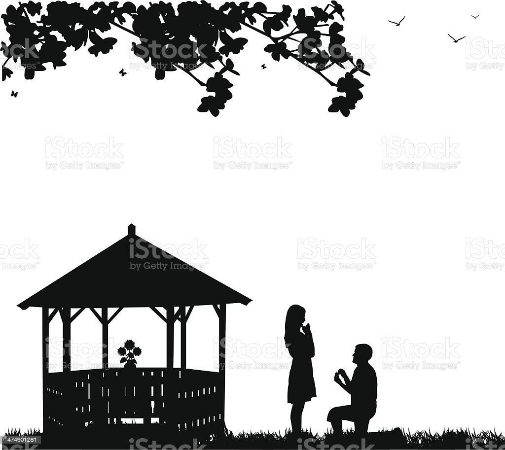 Romantic proposal in park or garden under the branches vector art illustration