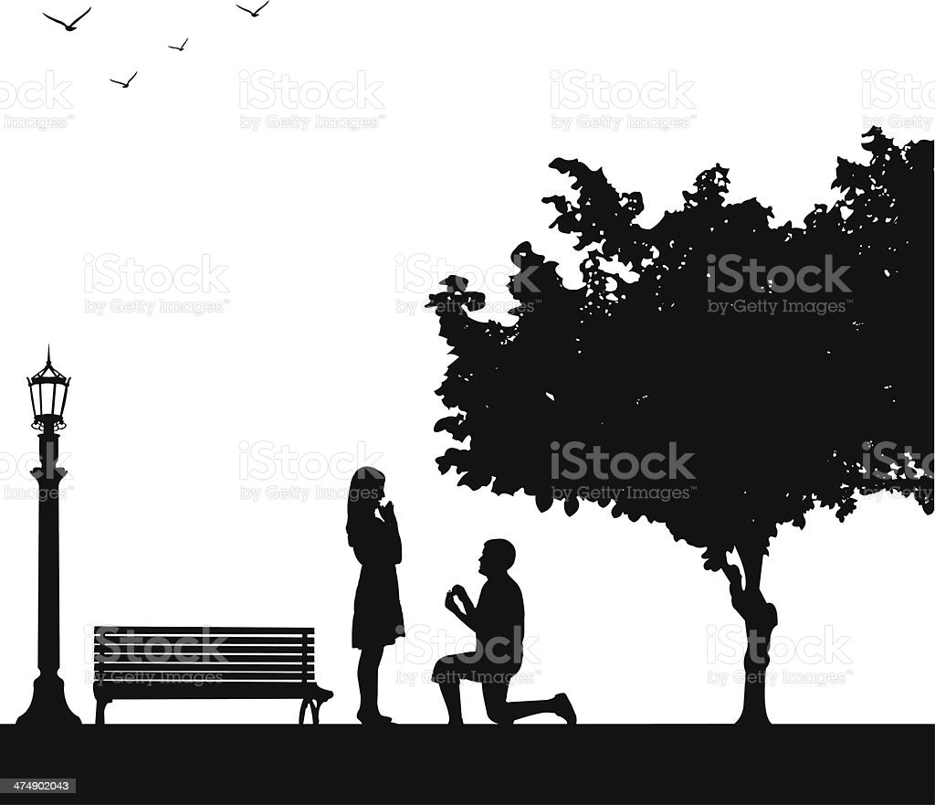 Romantic proposal in park under the tree vector art illustration