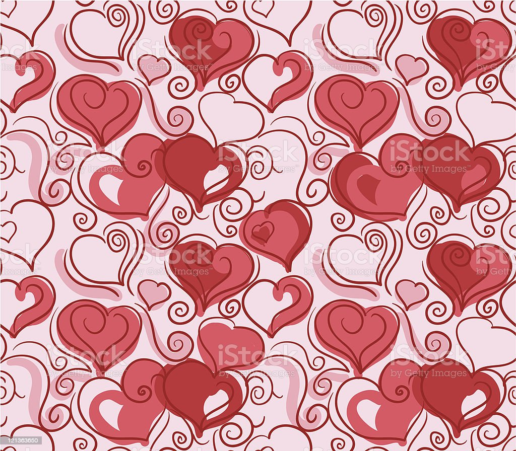 Romantic repeating wallpaper with hearts royalty-free stock vector art