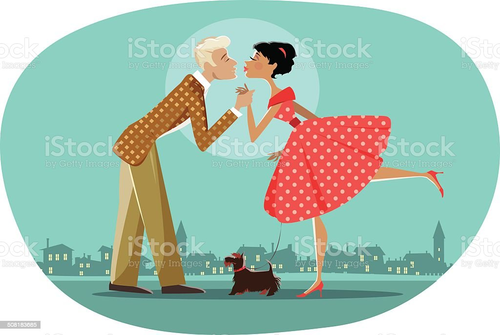 Romantic retro couple kissing vector art illustration
