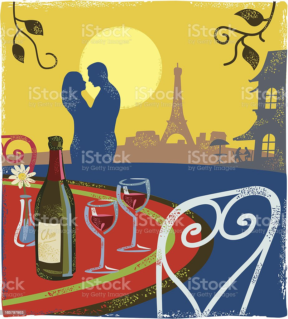 Romantic scene - Paris royalty-free stock vector art