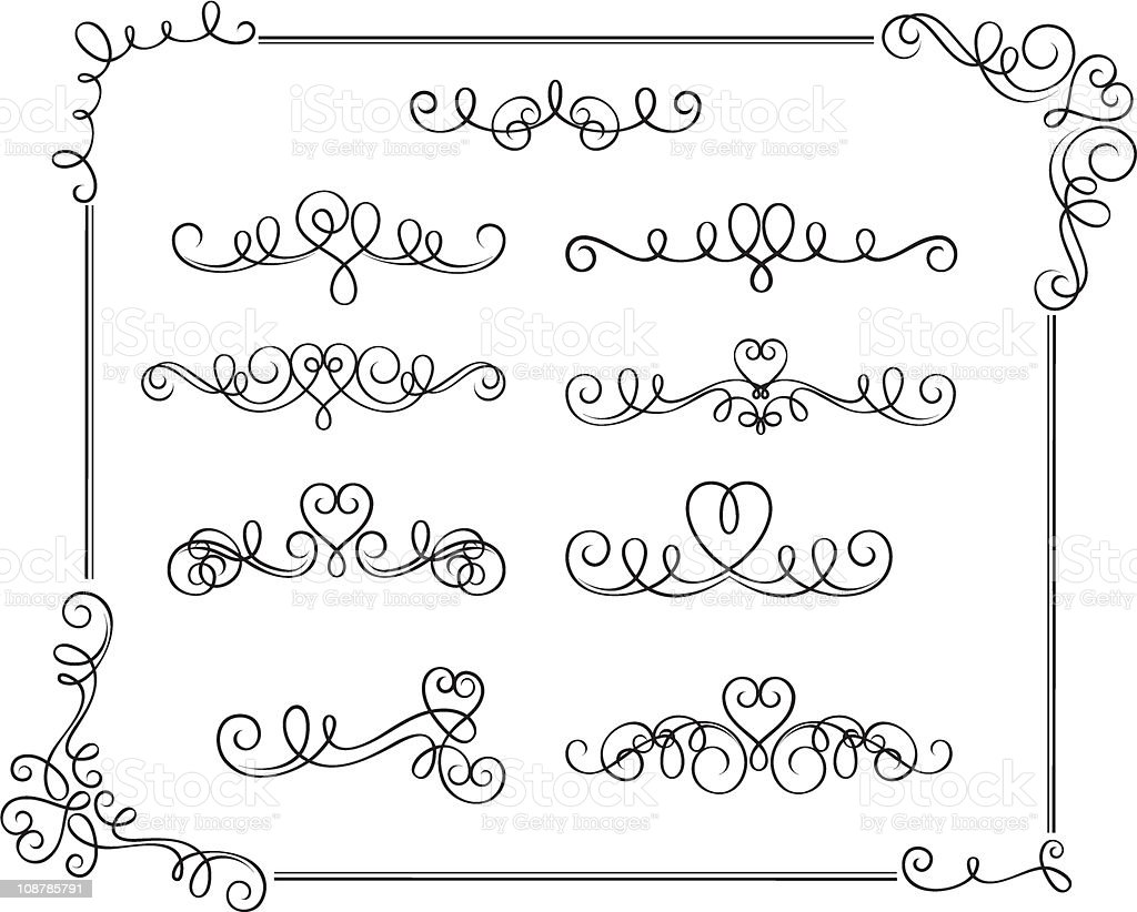romantic scroll set with heart theme royalty-free stock vector art