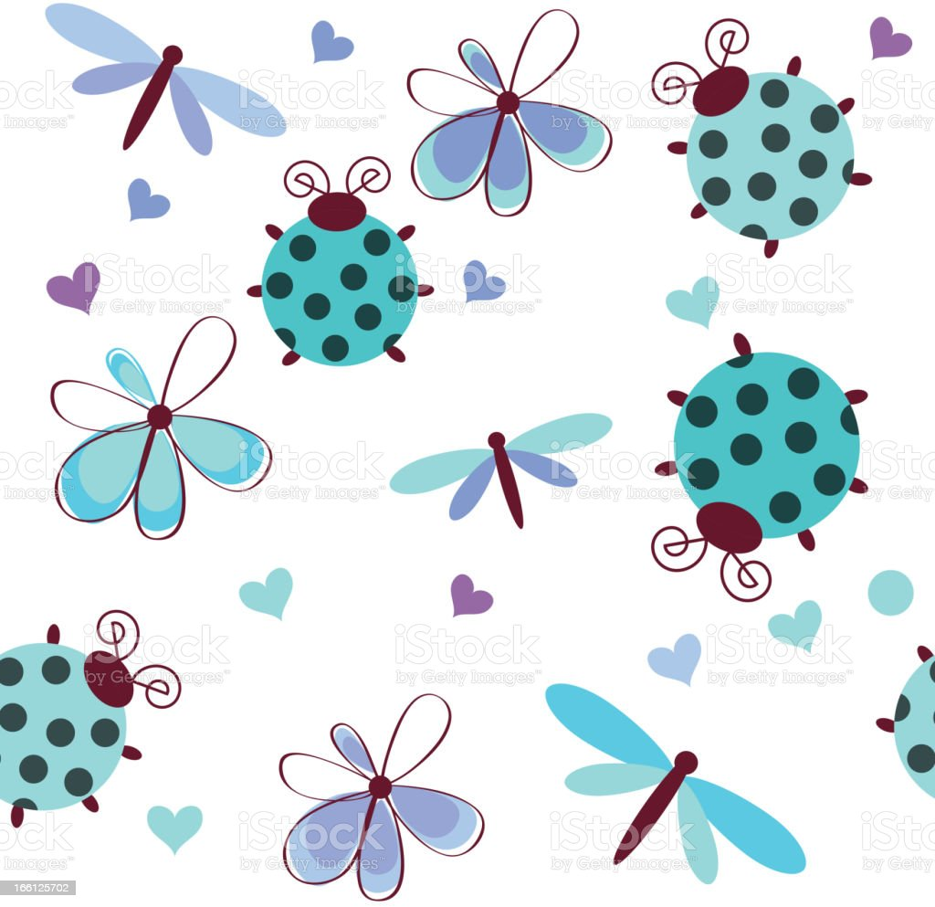 Romantic seamless pattern with dragonflies, ladybugs royalty-free stock vector art