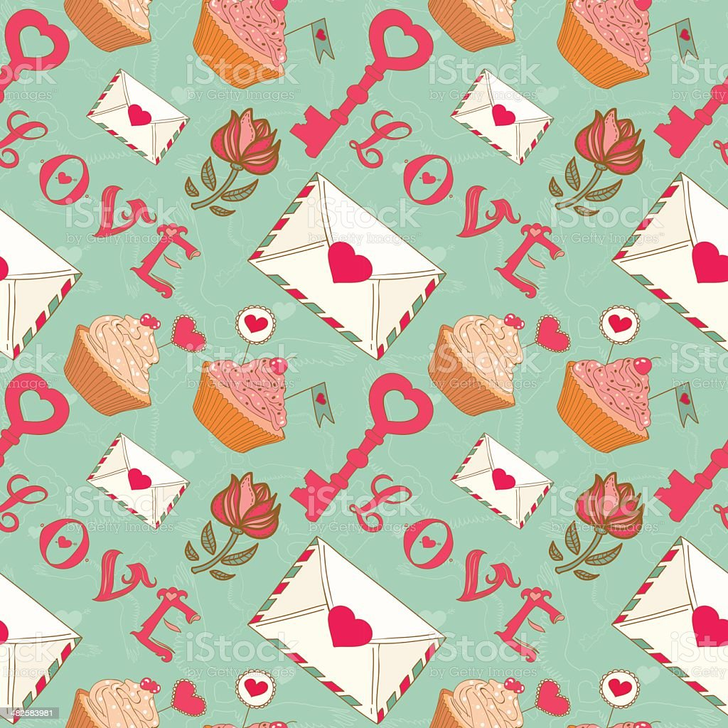 Romantic seamless Valentine's Day pattern. royalty-free stock vector art