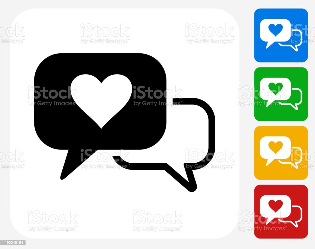 Romantic Speech Bubbles Icon Flat Graphic Design vector art illustration