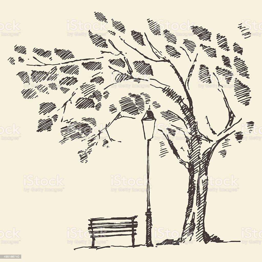 Romantic tree with bench lantern drawn sketch vector art illustration