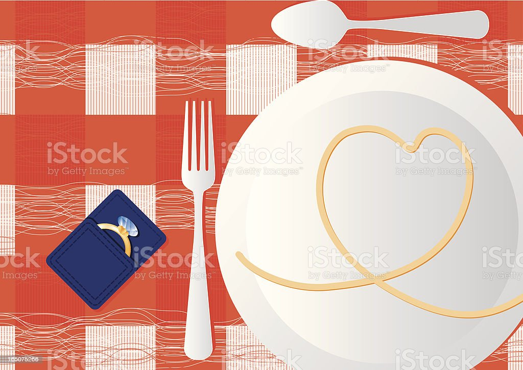 Romantic Valentine Dinner Proposal royalty-free stock vector art