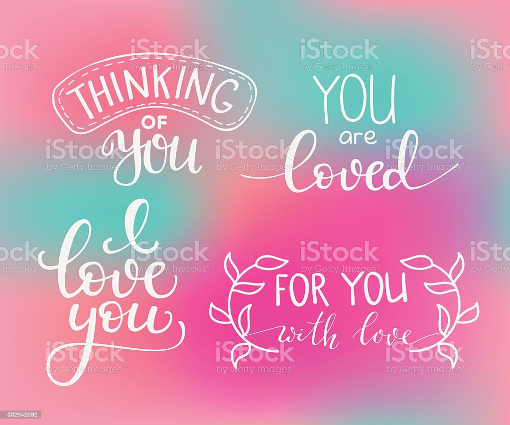 Romantic Valentines day lettering set vector art illustration