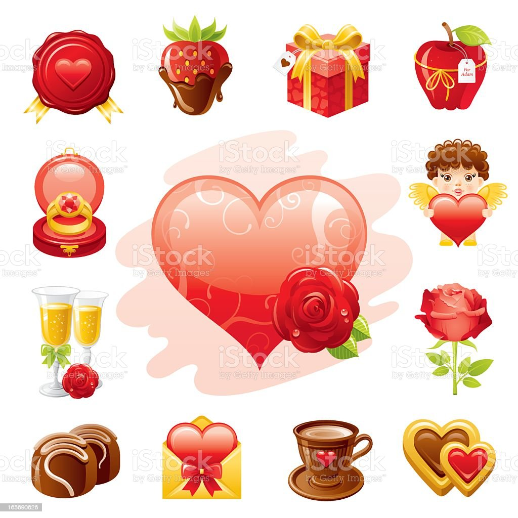 Romantic Vallentine's icon set vector art illustration