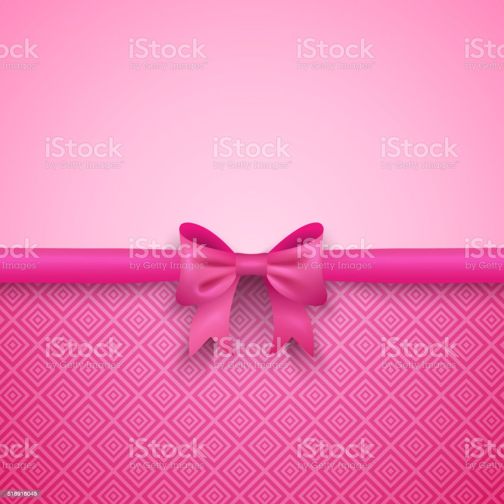 Romantic vector pink background with cute bow and pattern vector art illustration