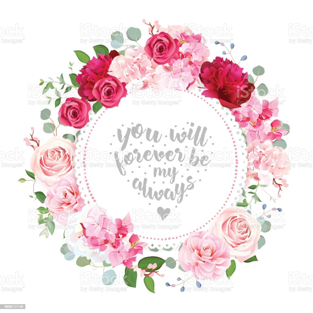 Romantic Wedding Floral Vector Design Round Card stock ...