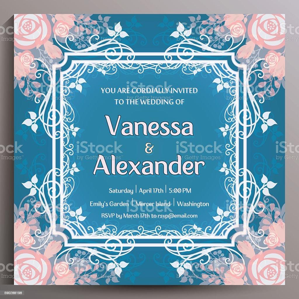 Romantic Wedding Invitation. Floral square card vector art illustration
