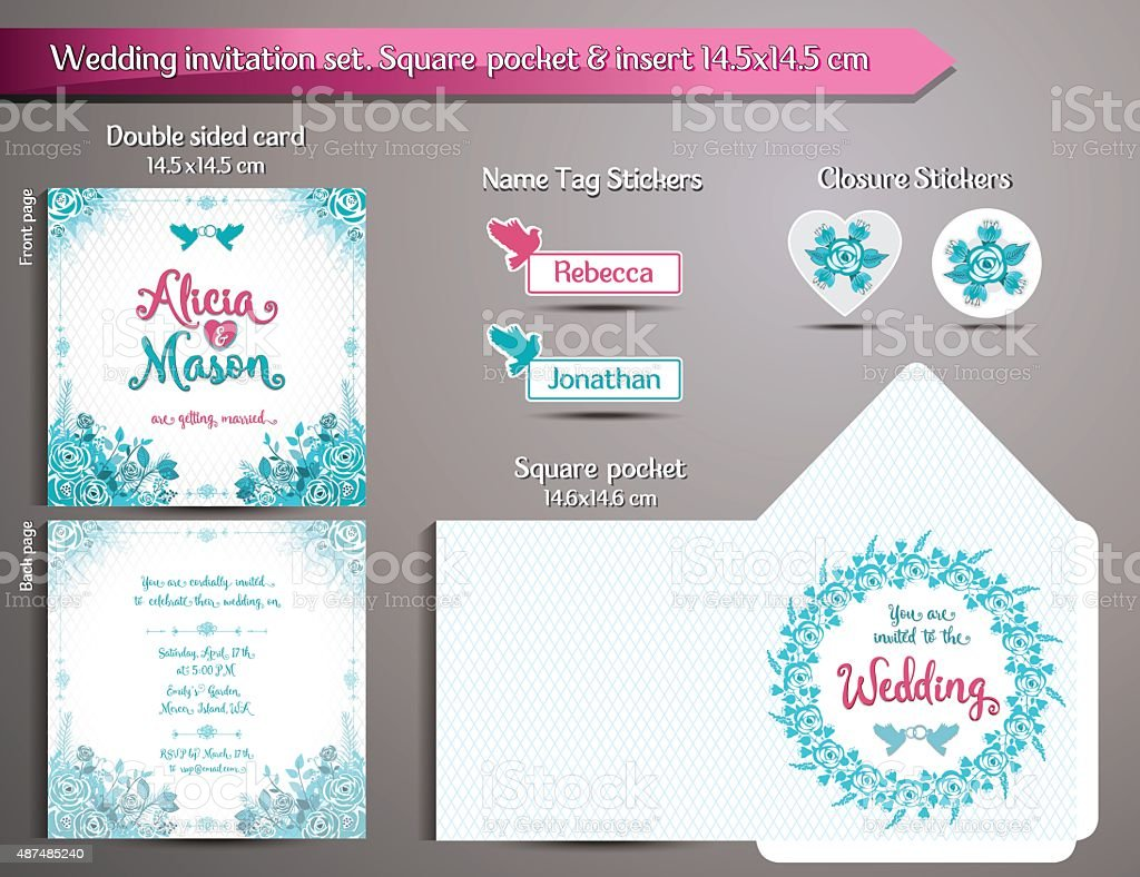 Romantic Wedding Invitation set. Square pocket and insert card vector art illustration