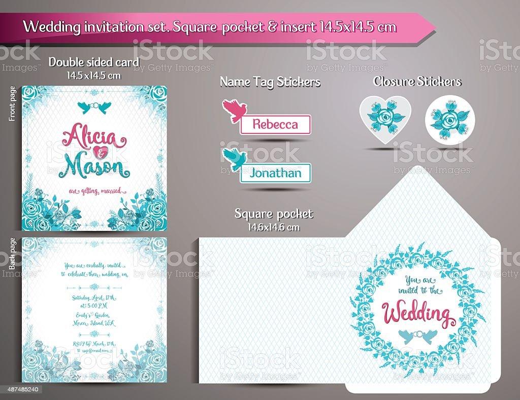 Romantic Wedding Invitation set. Square pocket and insert card vector art illustration