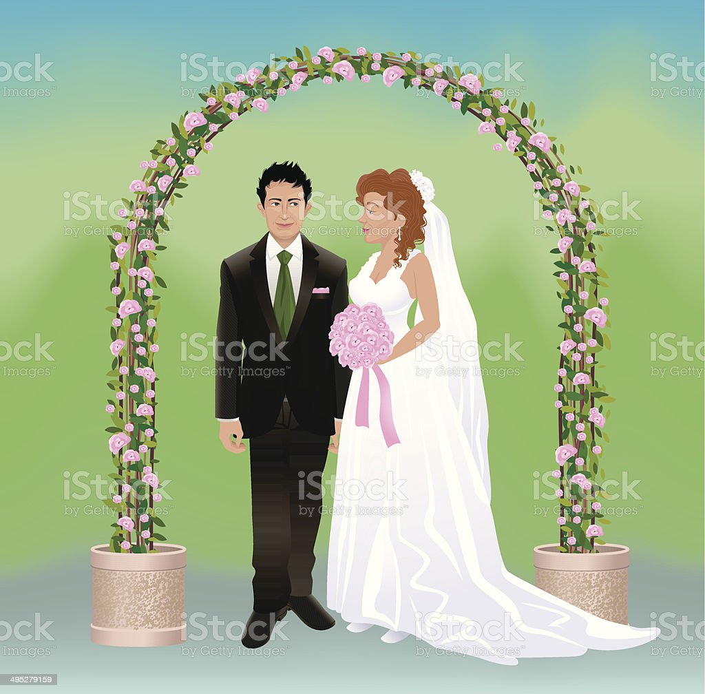 Romantic Wedding vector art illustration