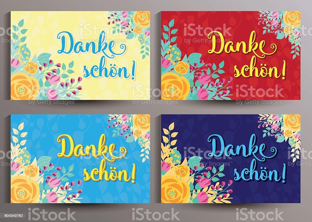 Romantische Danksagungskarte mit Blumen - Danke schön! vector art illustration