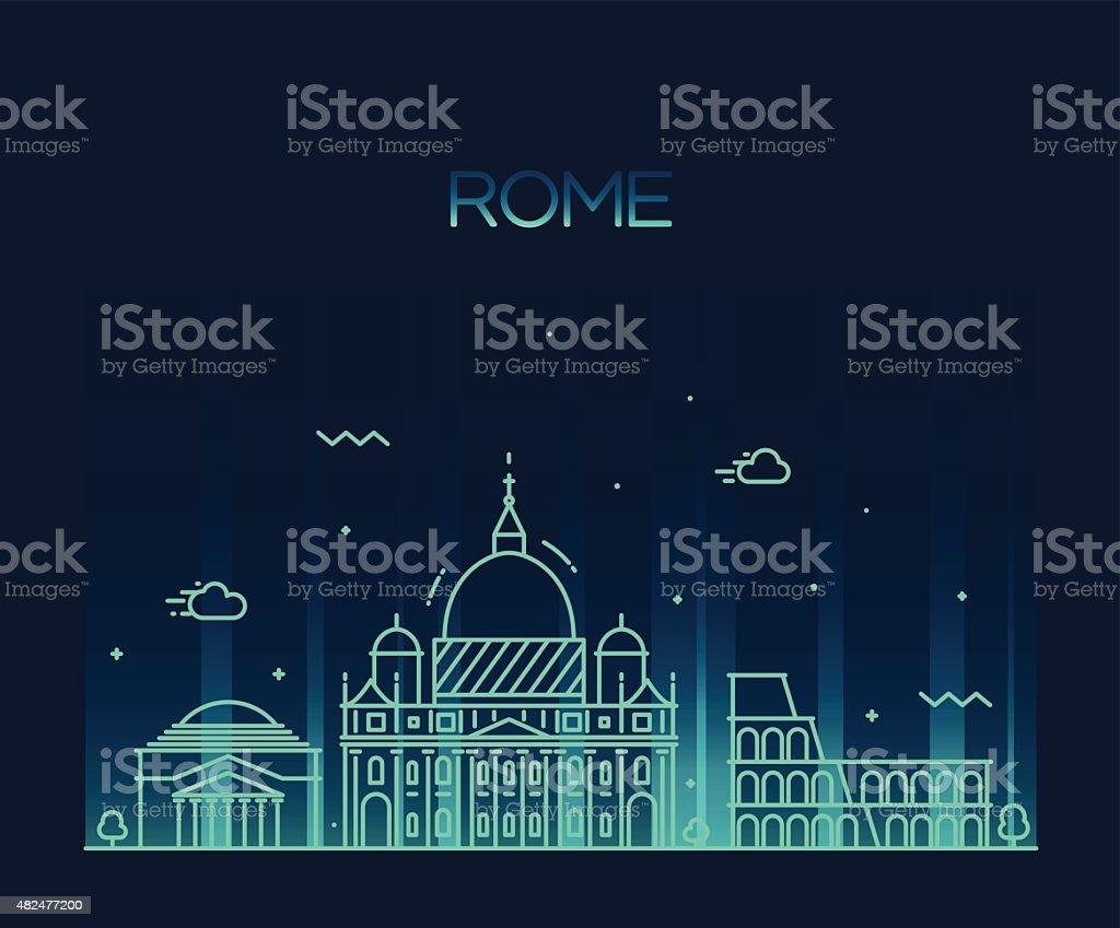 Rome City skyline detailed vector line art style vector art illustration