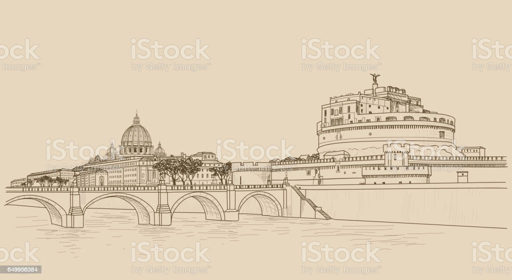 Rome cityscape with St. Peter's Basilica and Castle Sant Angelo. Italian city famous landmarks vector art illustration