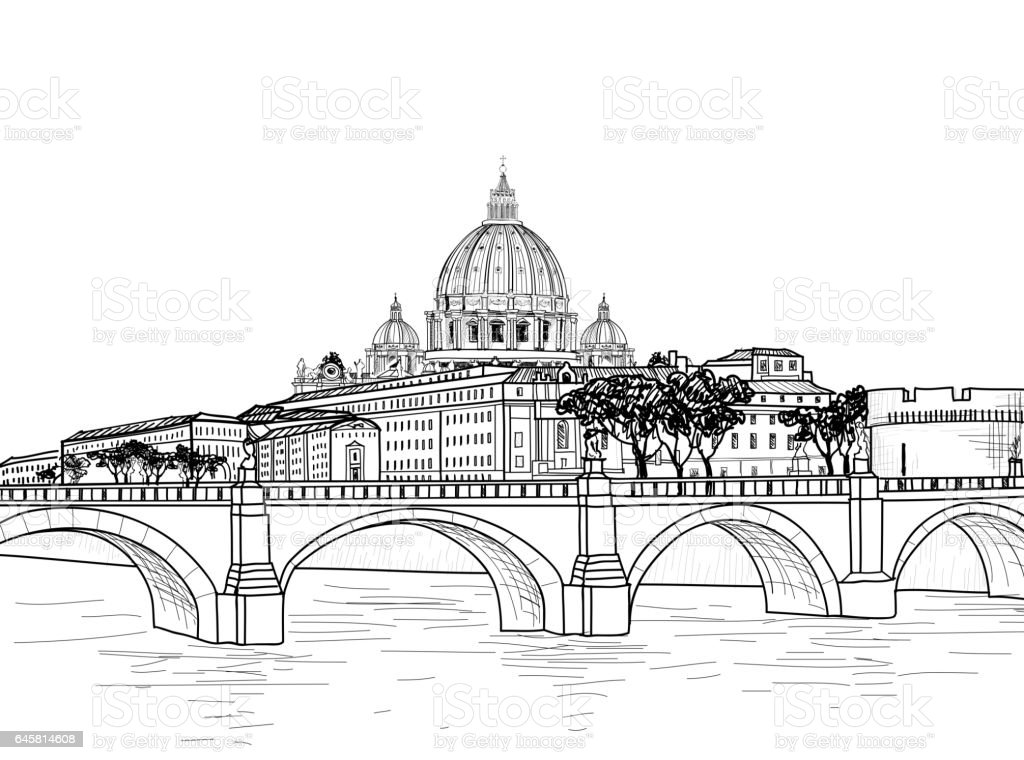 Rome cityscape with St. Peter's Basilica. Italian city famous landmark vector art illustration