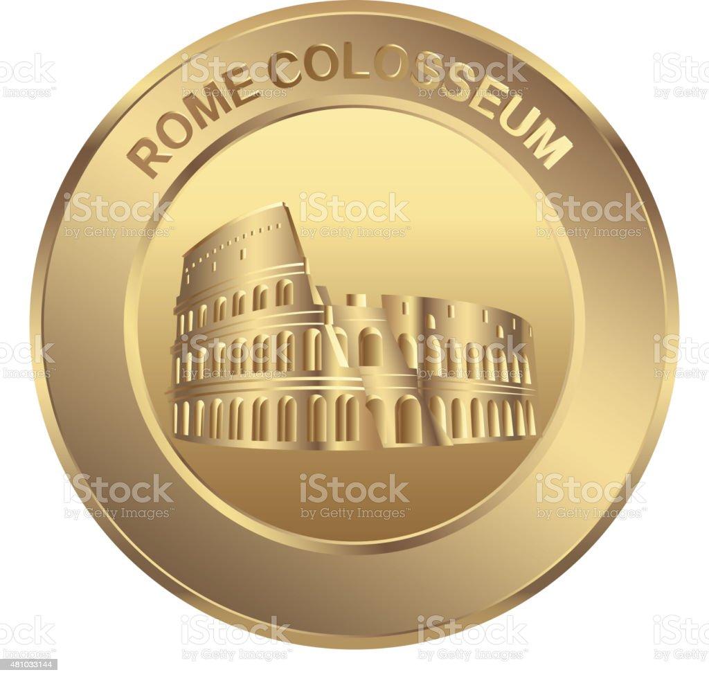 Rome colosseum coin vector art illustration