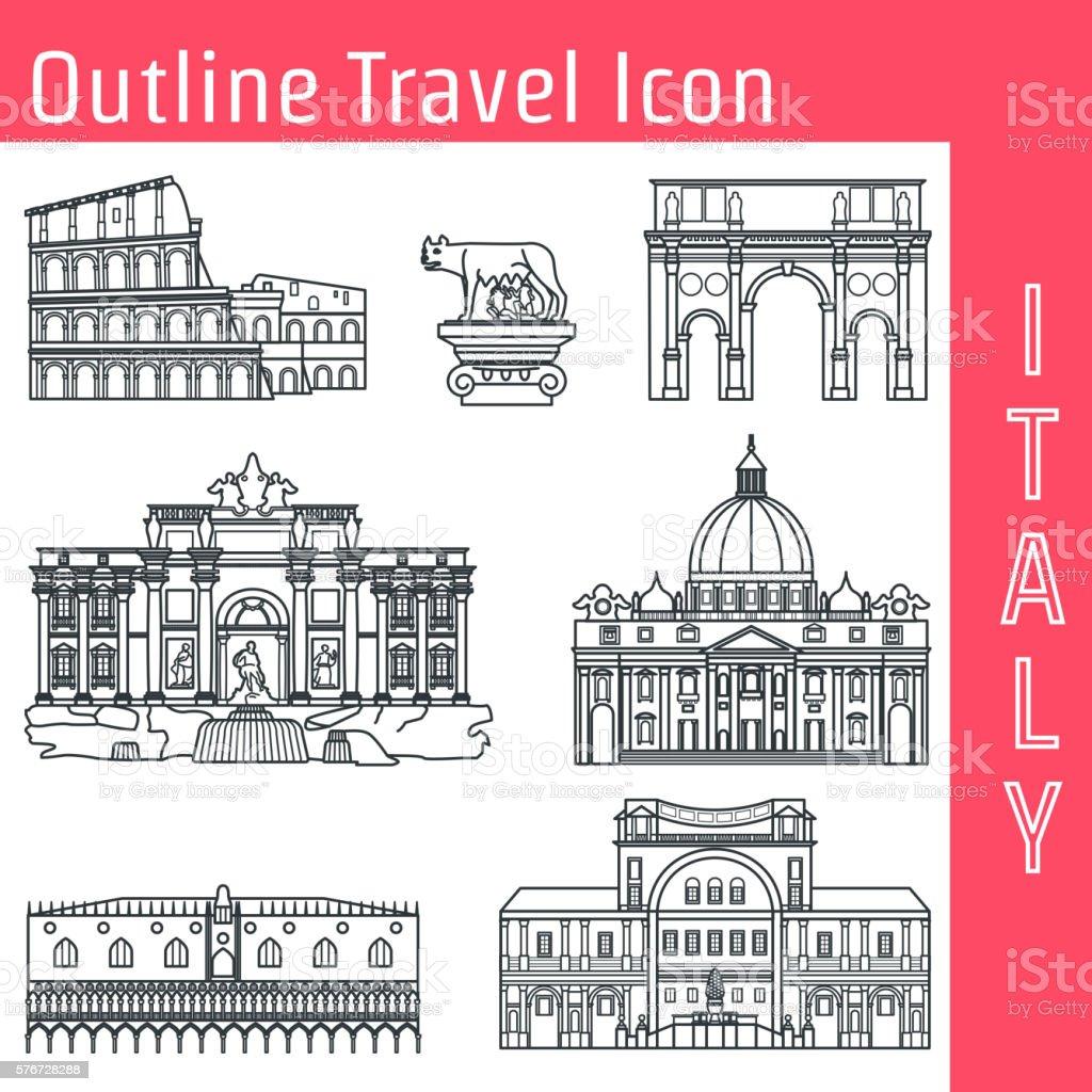 Rome Landmark Outline 1 vector art illustration