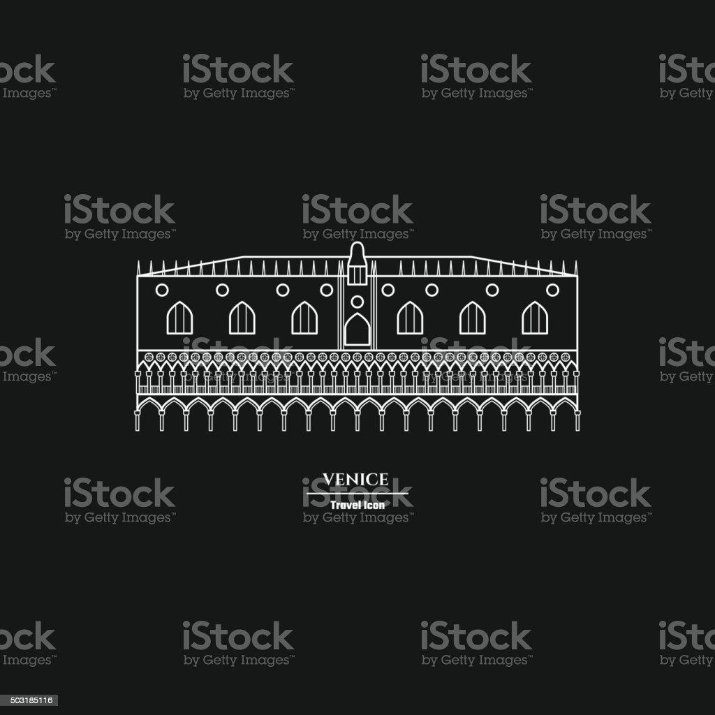 Rome Landmark Outline vector art illustration