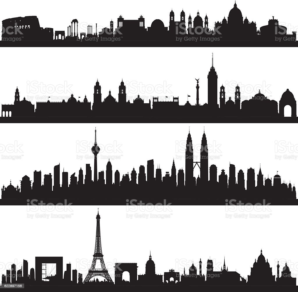 Rome, Mexico City, Kuala Lumpur and Paris (Complete, Moveable Buildings) vector art illustration