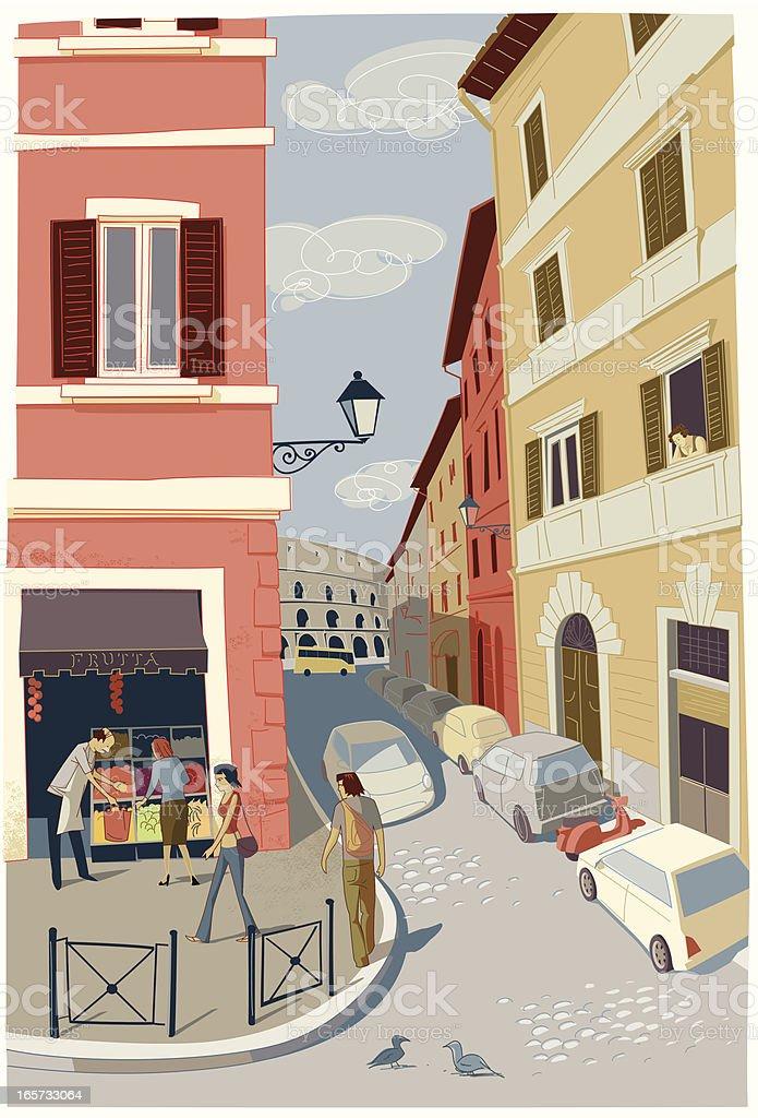 Rome street corner vector art illustration