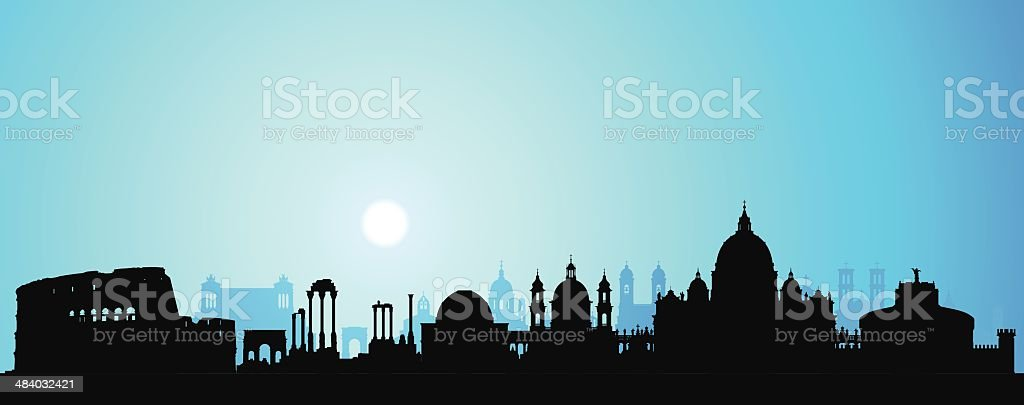 Rome (Each Building is Moveable and Complete) vector art illustration