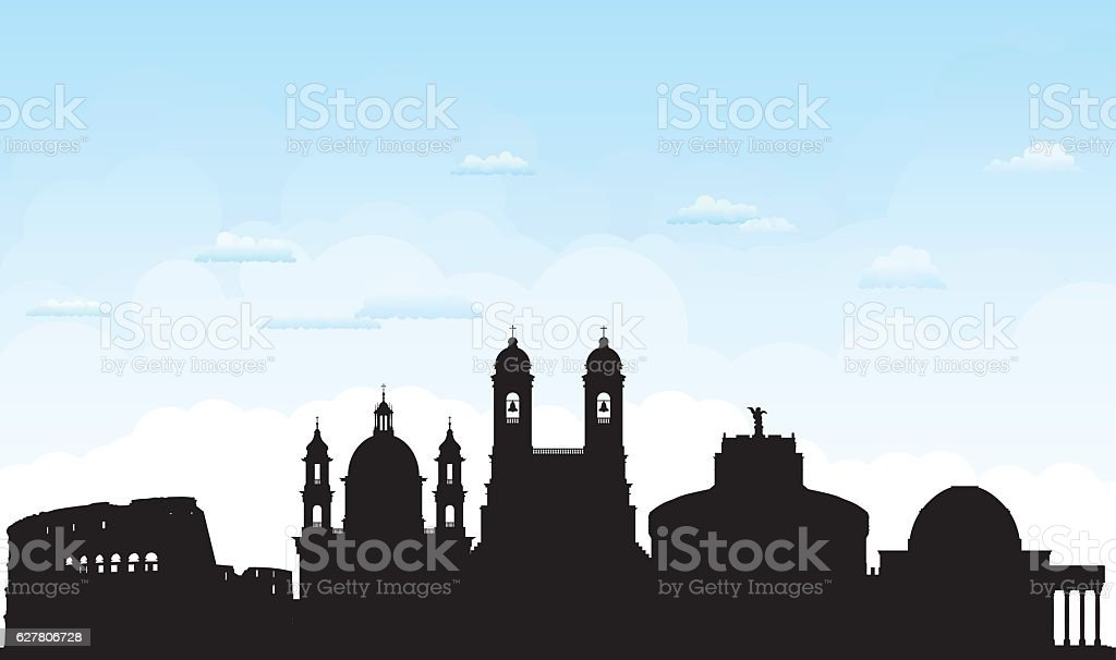 Rome (Buildings Are Detailed, Moveable and Complete) vector art illustration