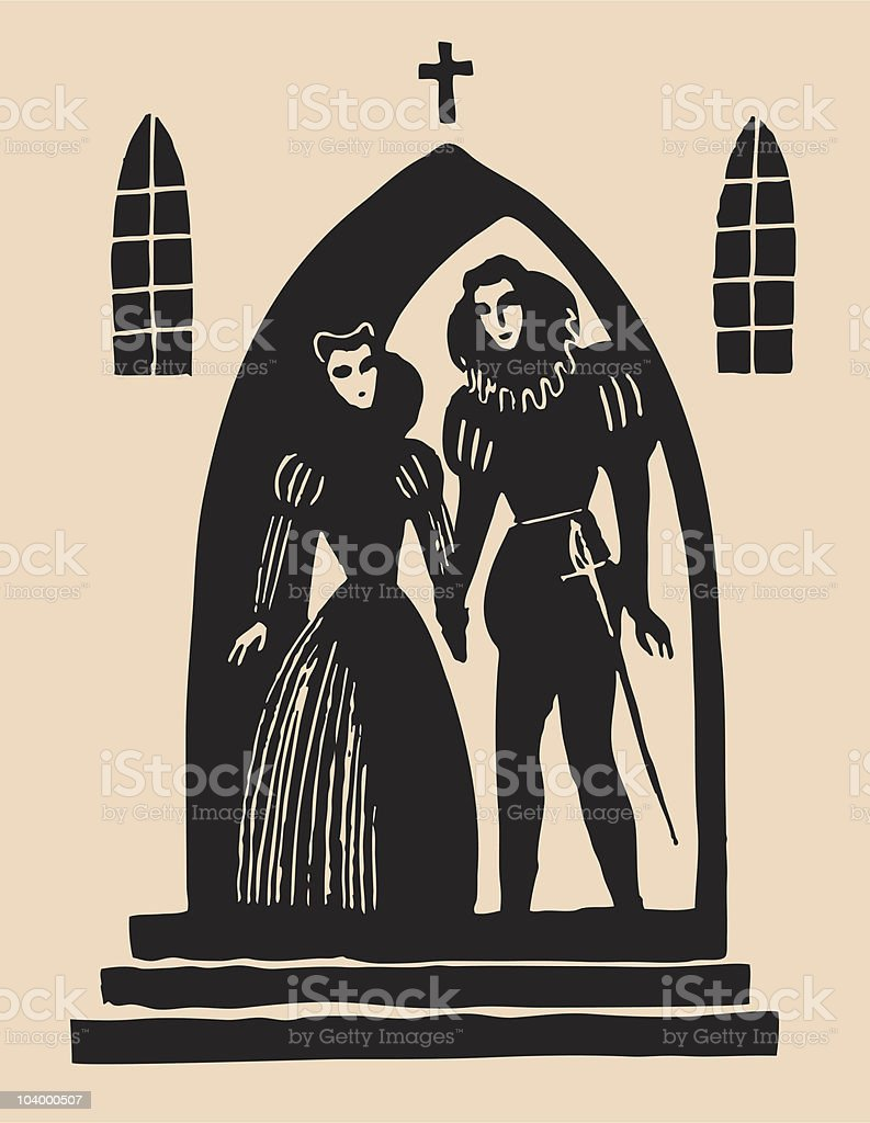Romeo And Juliet secret alter etching vector art illustration