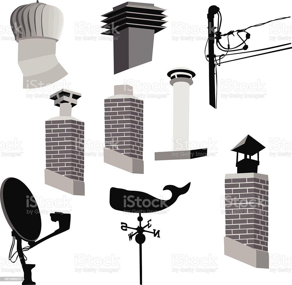 Roof Elements vector art illustration