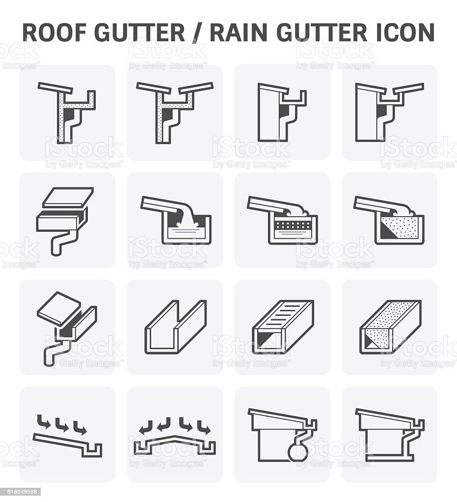 Roof gutter icon vector art illustration