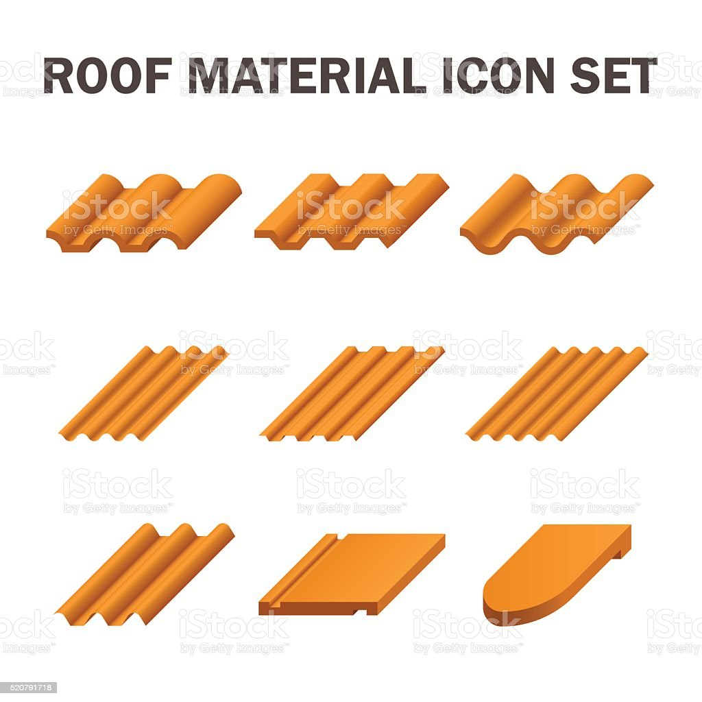 Roof material icon vector art illustration