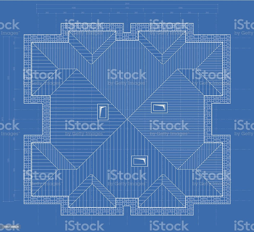 roof plan blueprint drawing royalty-free stock vector art