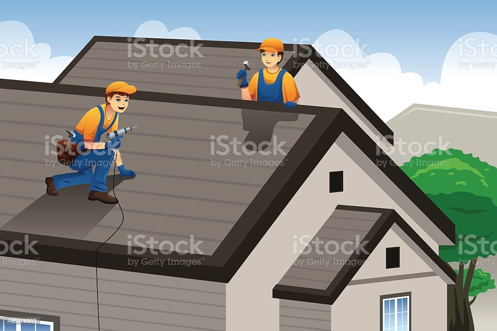 Roofer working on the roof vector art illustration