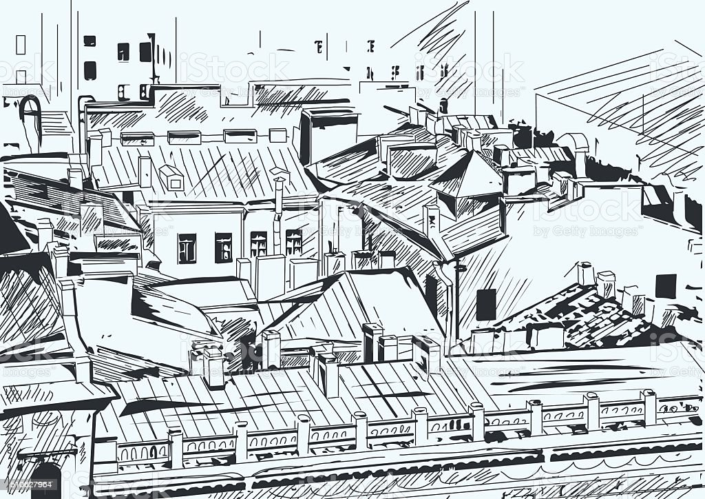 Roofs in the old town center. Saint-Petersburg, Russia. vector art illustration