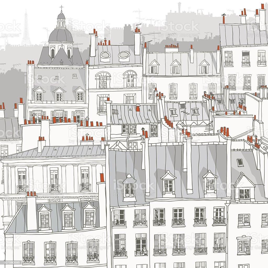 Roofs of Paris vector art illustration