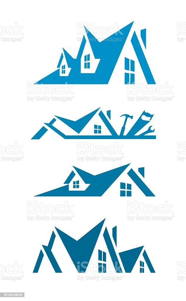 Rooftop icons for logo design vector art illustration