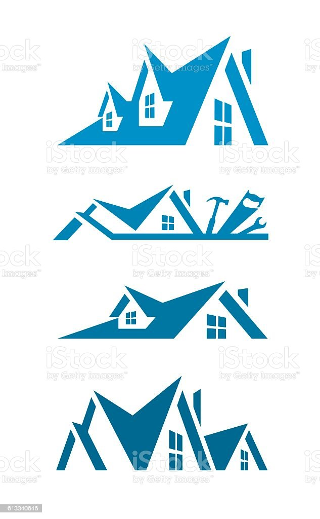 Rooftop icons for logo design vector art illustration